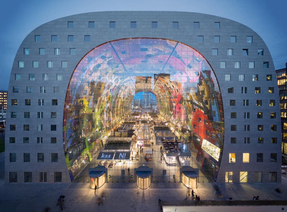 Digital art covers the inside of Rotterdam's Markthal