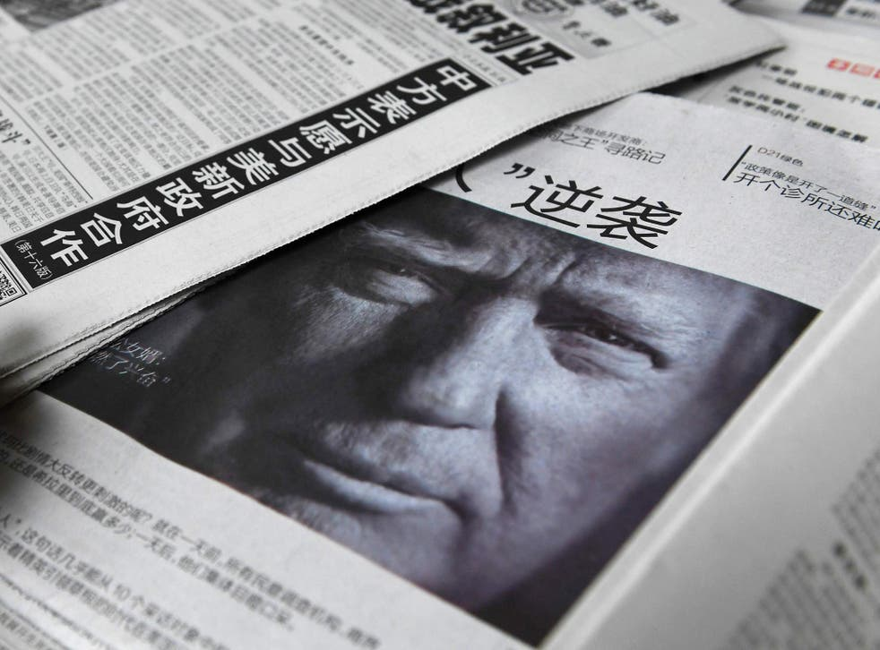 Donald Trmp on the front page of a Chinese newspaper in November