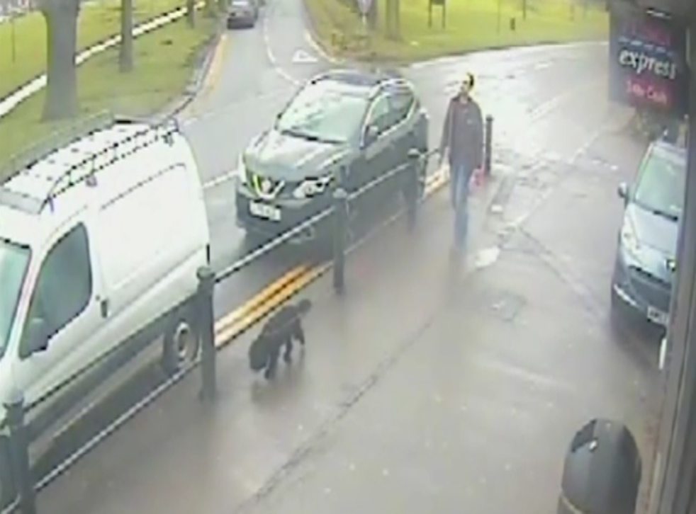 Darren Byrne was captured on CCTV walking his dog after killing his wife