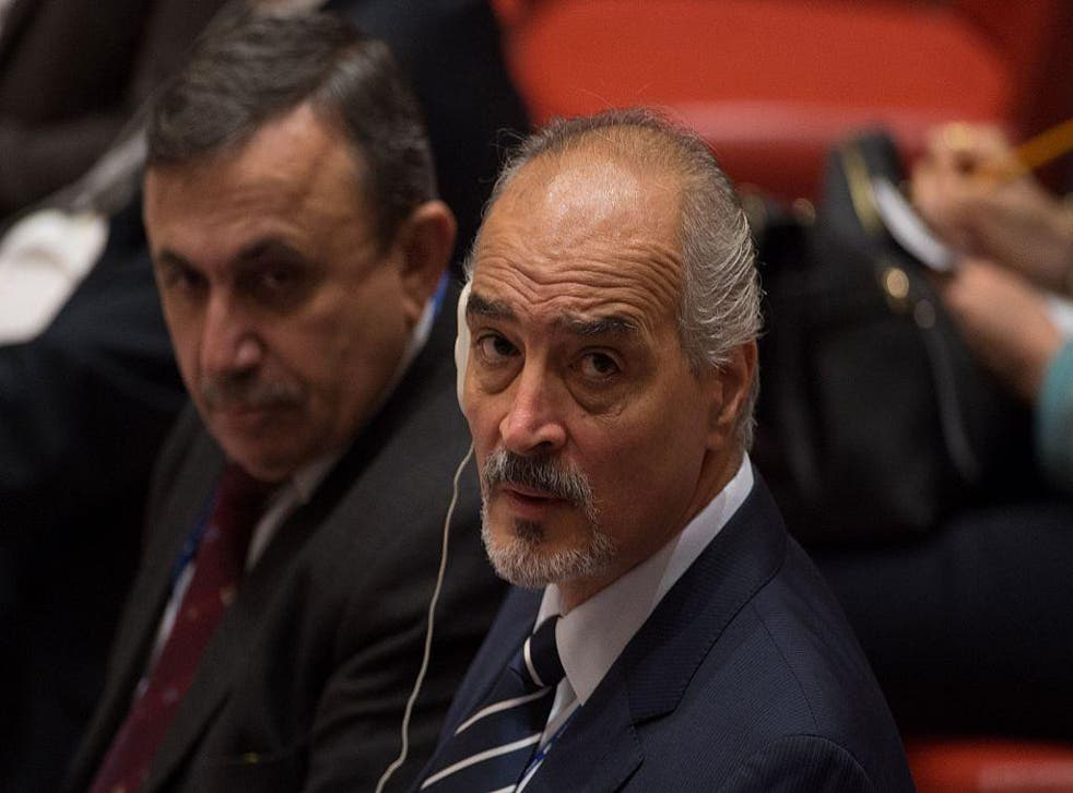 The Syrian Arab Republic's permanent representative to the UN Bashar Jaafari during emergency talks in New York on the crisis in Aleppo on Tuesday 13 December 2016
