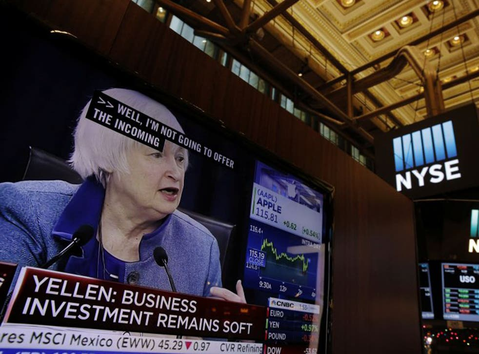US Federal Reserve Chairman Janet Yellen's words are closely followed on the floor of the New York Stock Exchange