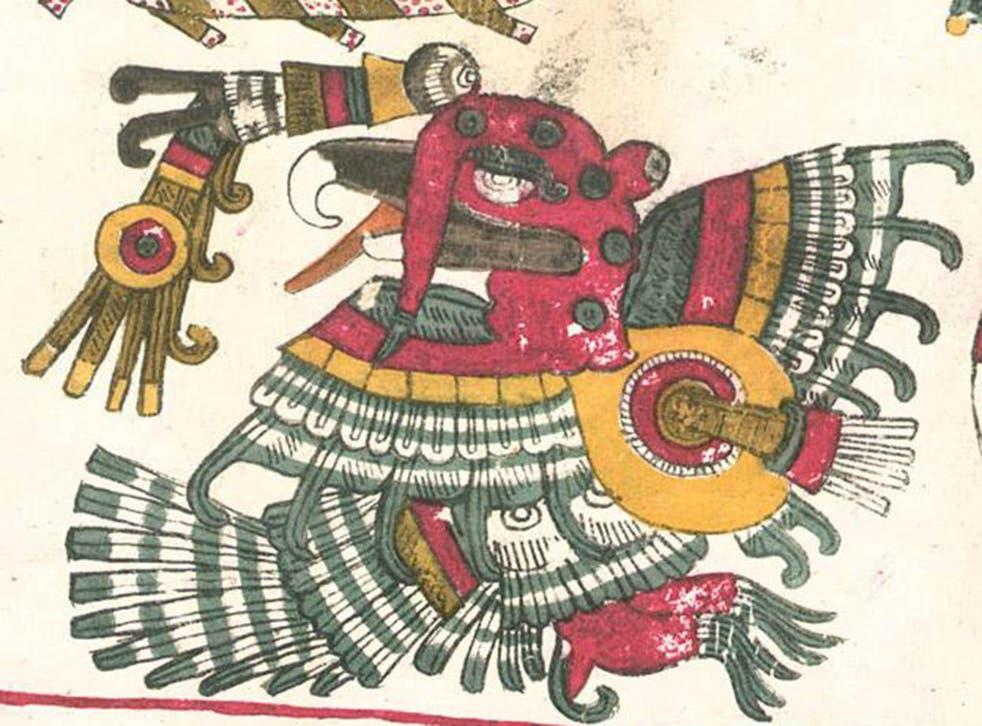 The Mexica deity Jade Turkey (Chalchiuhtotolin), from the Codex Borgia, c.1300