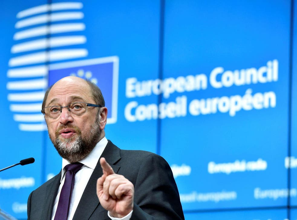 Martin Schulz speaking to reporters in the Belgian capital today