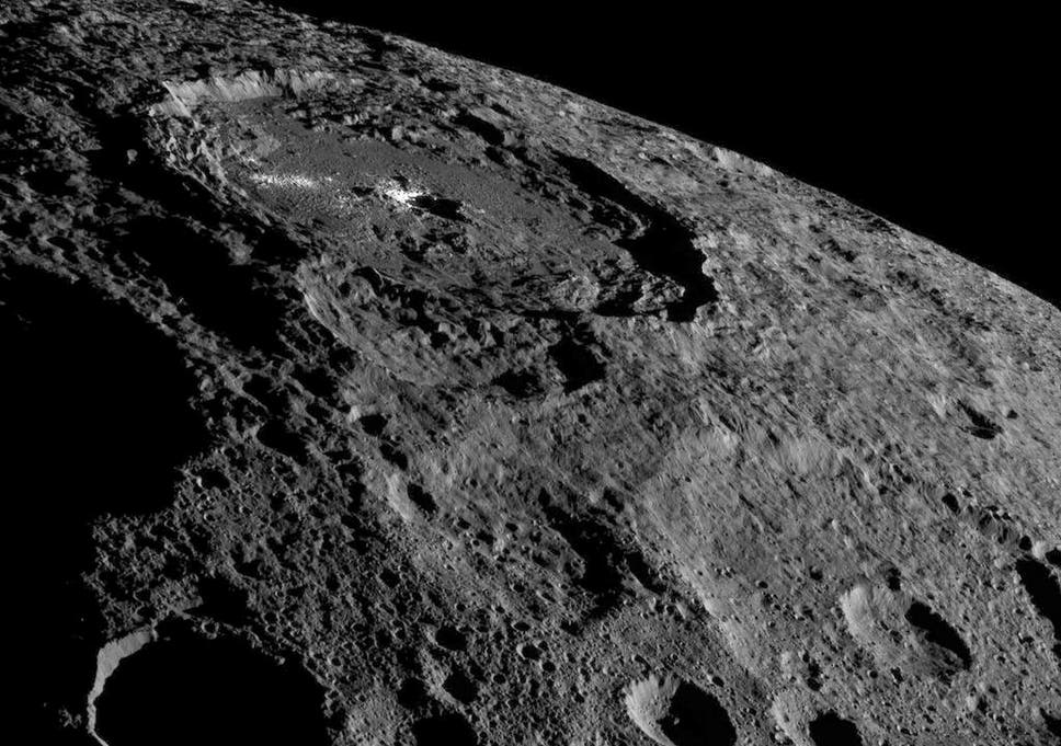 NASA's Dawn spacecraft image of the limb of dwarf planet Ceres shows a section of the northern hemisphere in this image on October 17, 2016