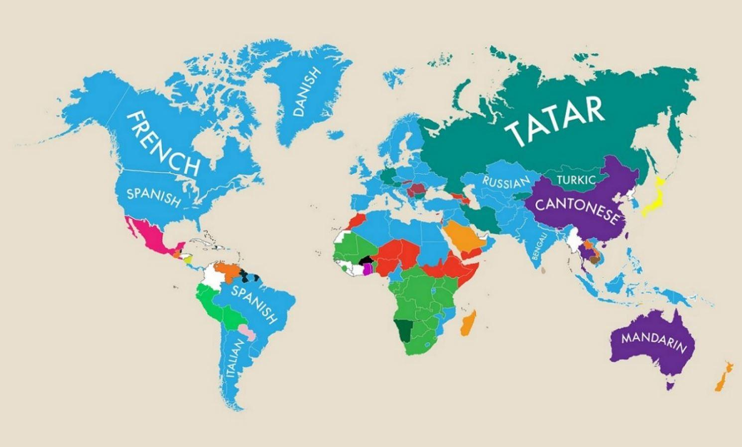 Language Map Of The World A map of the world according to second languages | indy100