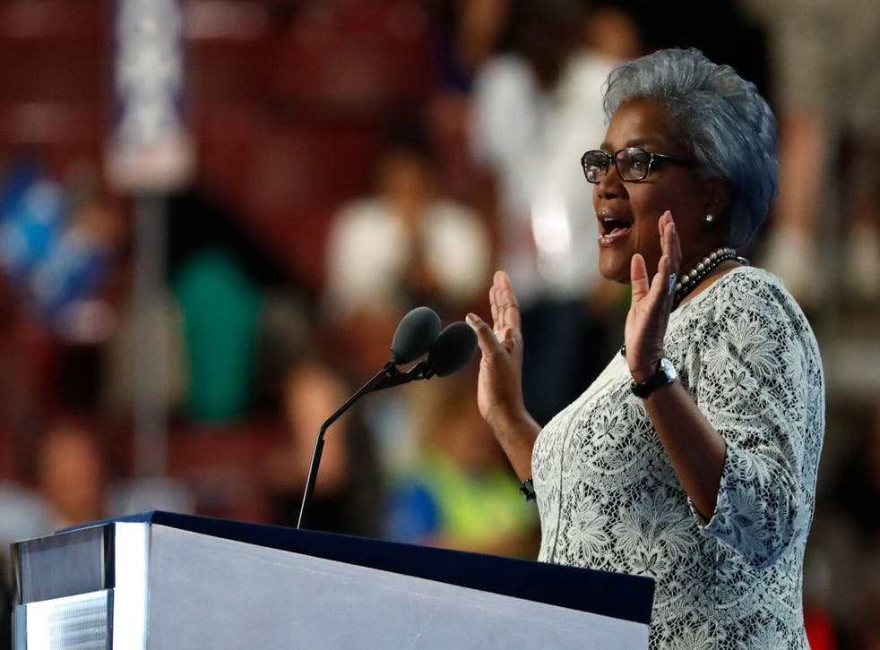 Ms Brazile speaking at the DNC convention two months after they found out their systems had been hacked