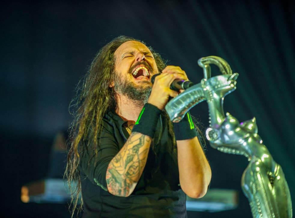 Jonathan Davis performs in Los Angeles with Korn