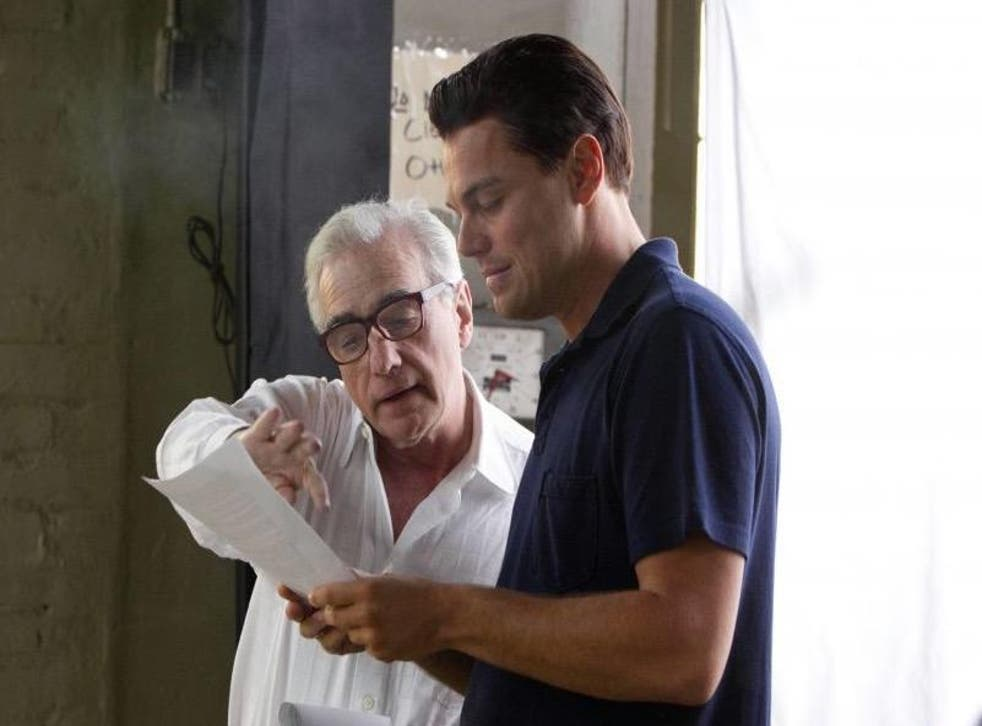 Scorsese and DiCaprio on the set of The Wolf of Wall Street