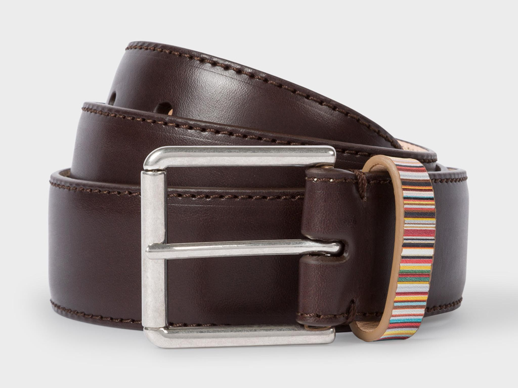 Mens natural leather belt with smooth silver tone buckle