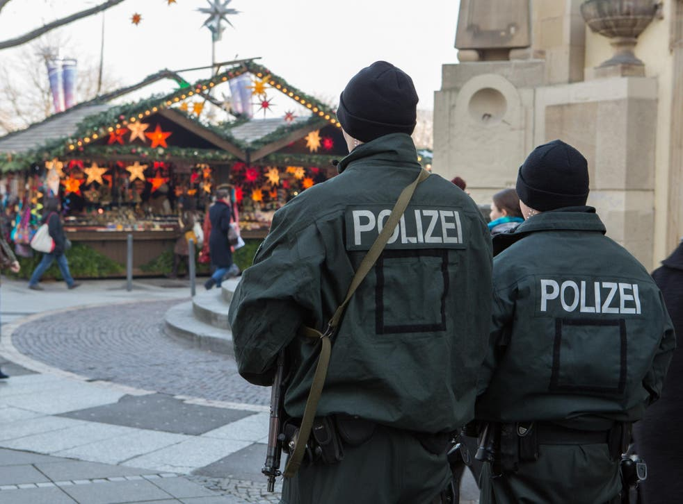 Police officers guard the Christmas Market in Stuttgart