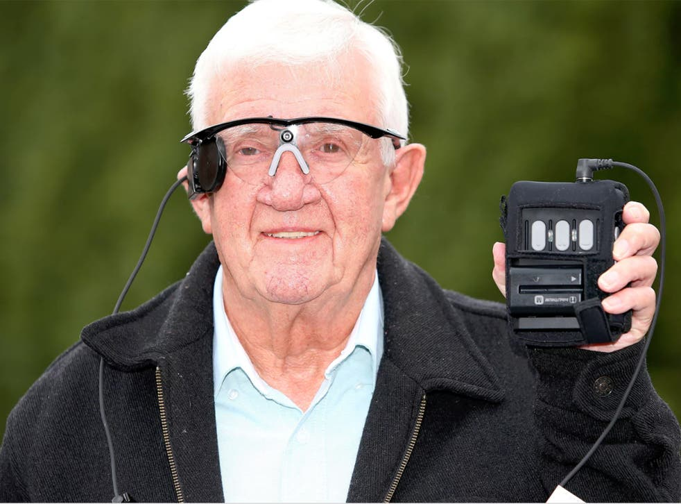 Raymond Flynn, 80, at Manchester Royal Infirmary in July during trials of the 'bionic eye'