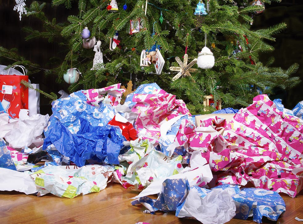 Wrapping Paper Scattered Under the Christmas Tree
