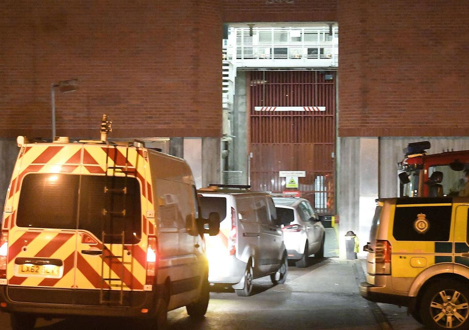 0427204519 Police vans arrive at HMP Swaleside to control the riot there last week