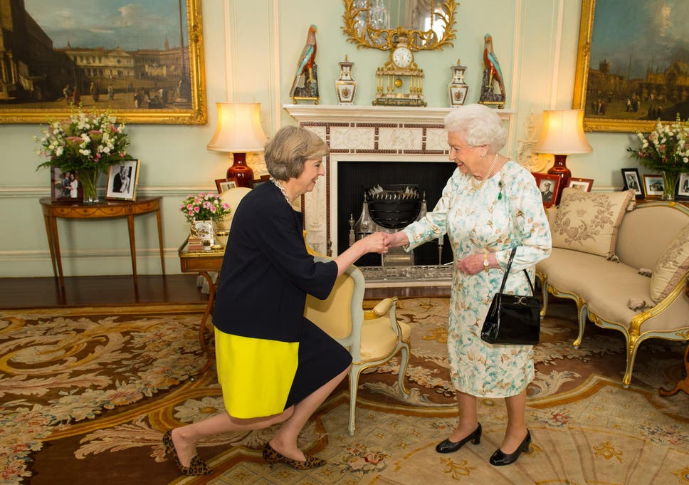 Image result for theresa may goes to palace and meets queen