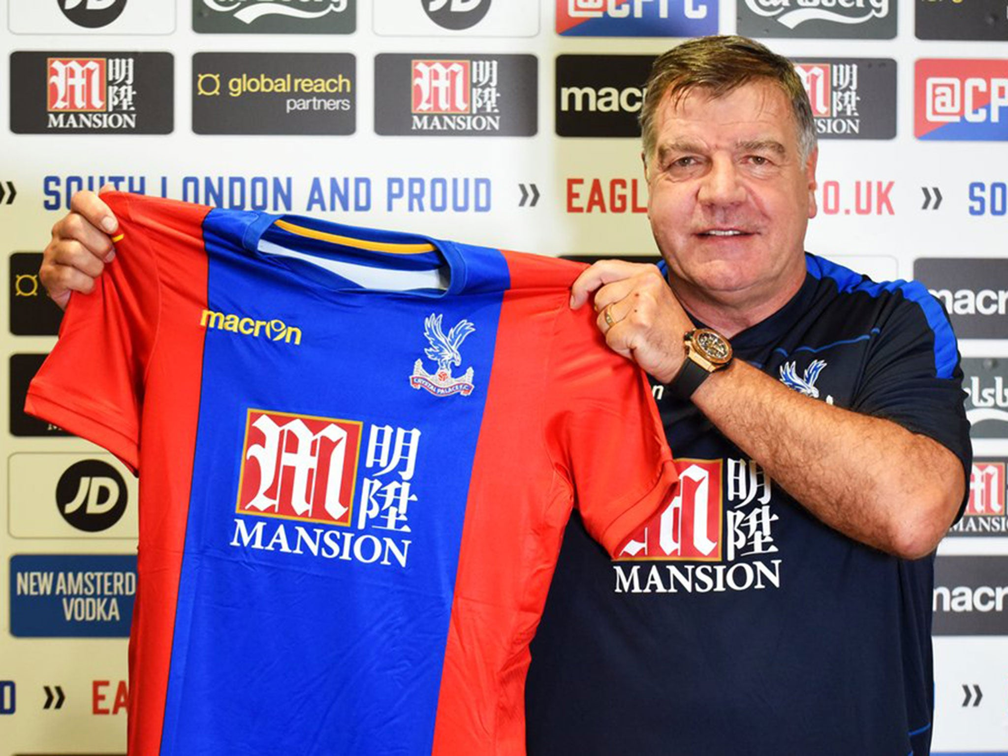 sam allardyce confirmed as crystal palace s new manager the independent