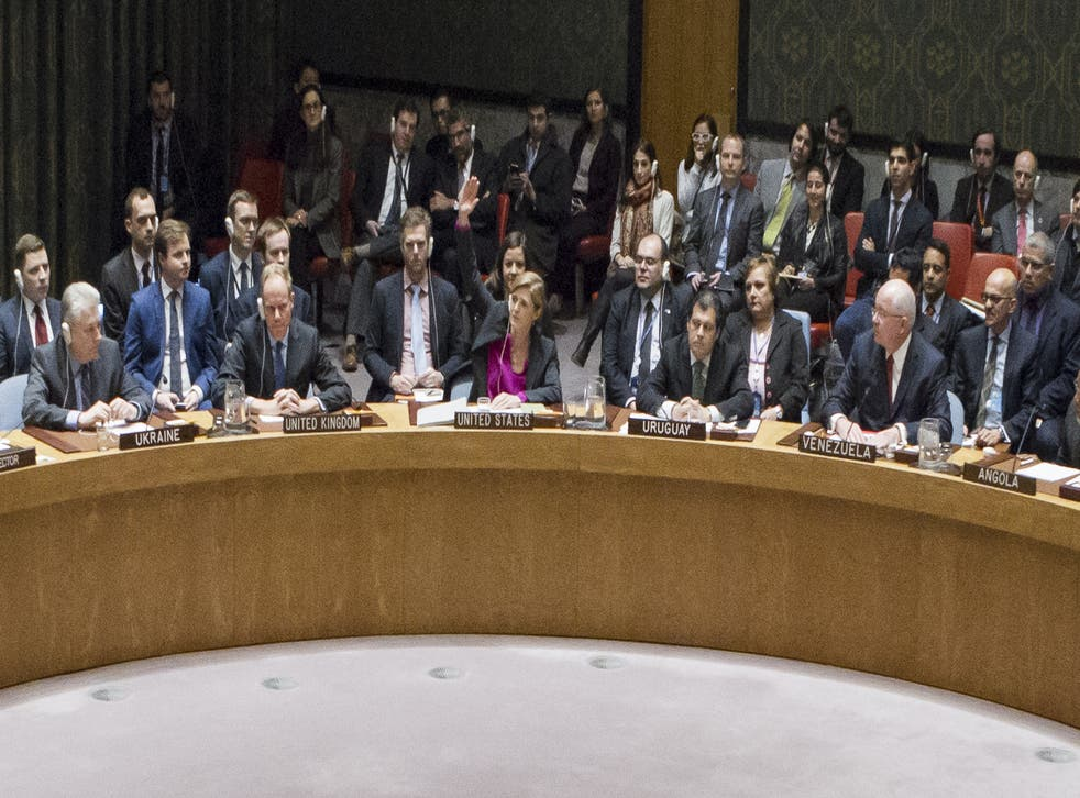 Samantha Power, US Ambassador to the United Nations, votes to abstain during Security Council vote on condemning Israel's settlements in the West Bank