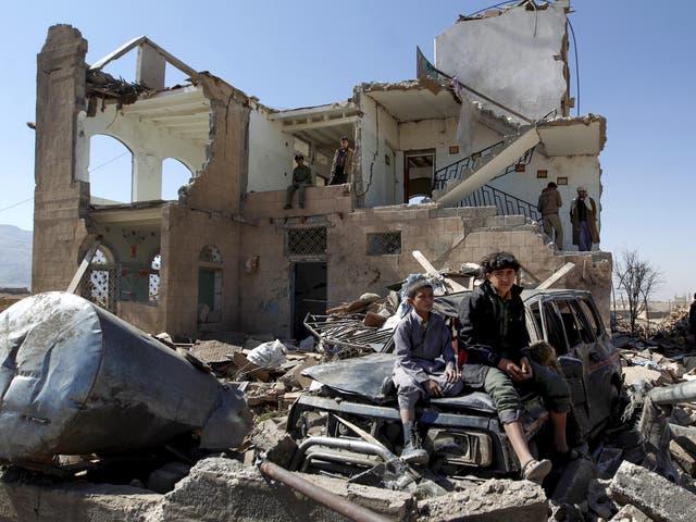 The devastation of a Saudi-led coalition air strike in the Yemeni capital, Sana'a, in November
