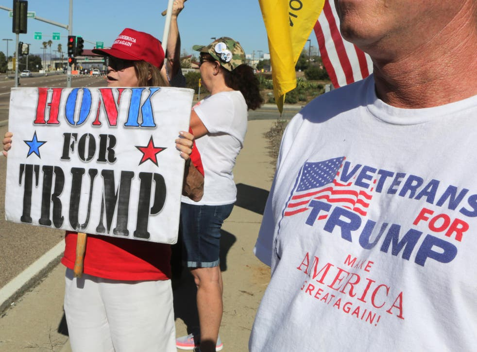 Donald Trump supporters campaign in California, in the run up to the US election in November 2016
