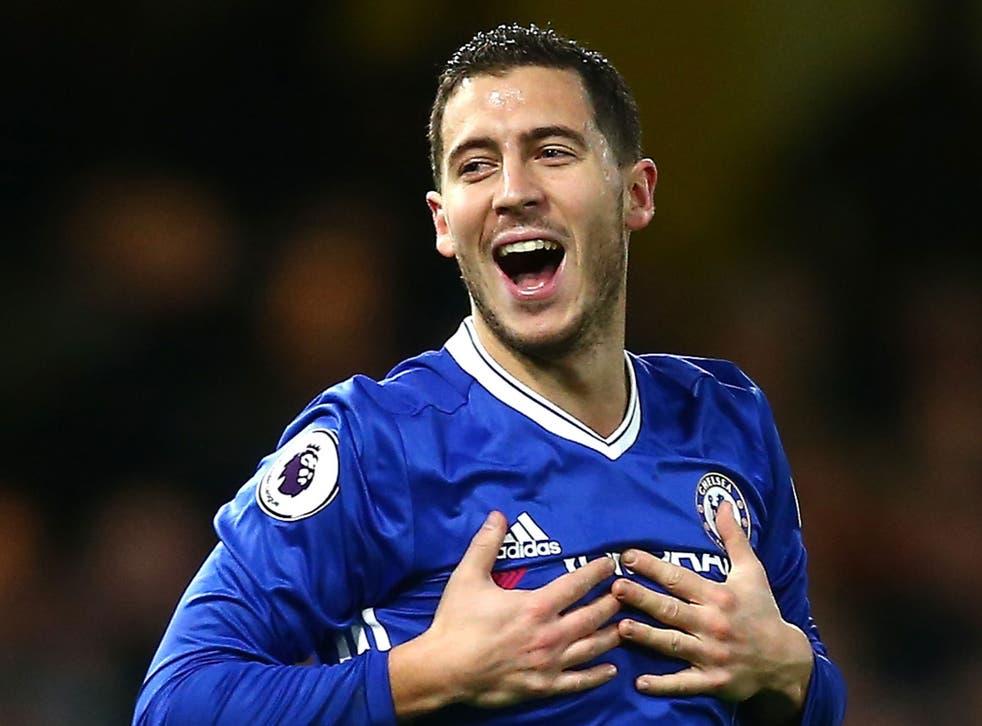 Eden Hazard celebrates scoring for Chelsea against Bournemouth
