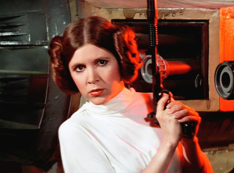Carrie Fisher as Princess Leia in Star Wars IV: A New Hope