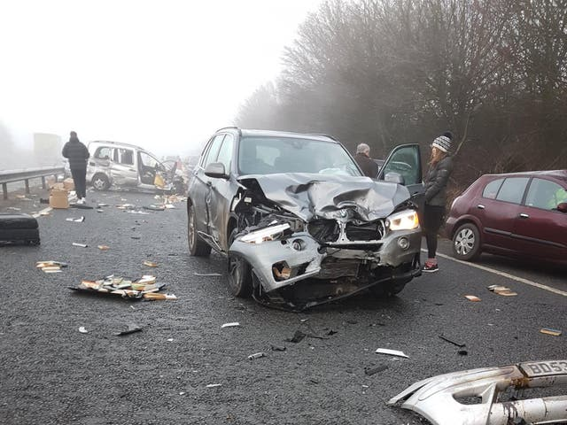 Up to 20 vehicles are reported to have been involved in the accident