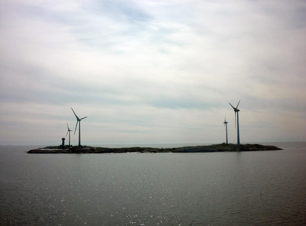 Wind turbines at the island of Mariahamn between Sweden and Finland