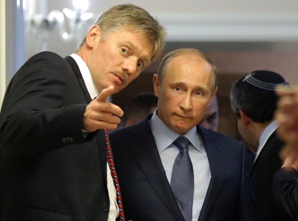 Dmitry Peskov (left), with Russian president Vladimir Putin, denied that Rusada had admitted to widepsread doping