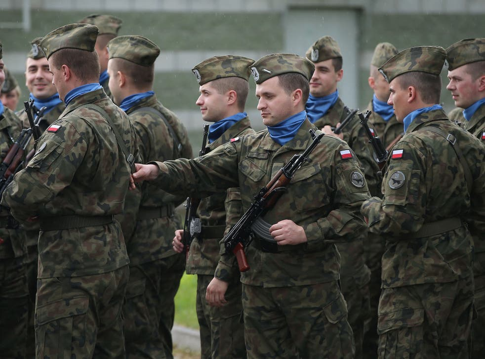 Polish soldiers assemble as part of Nato training exercise in 2014