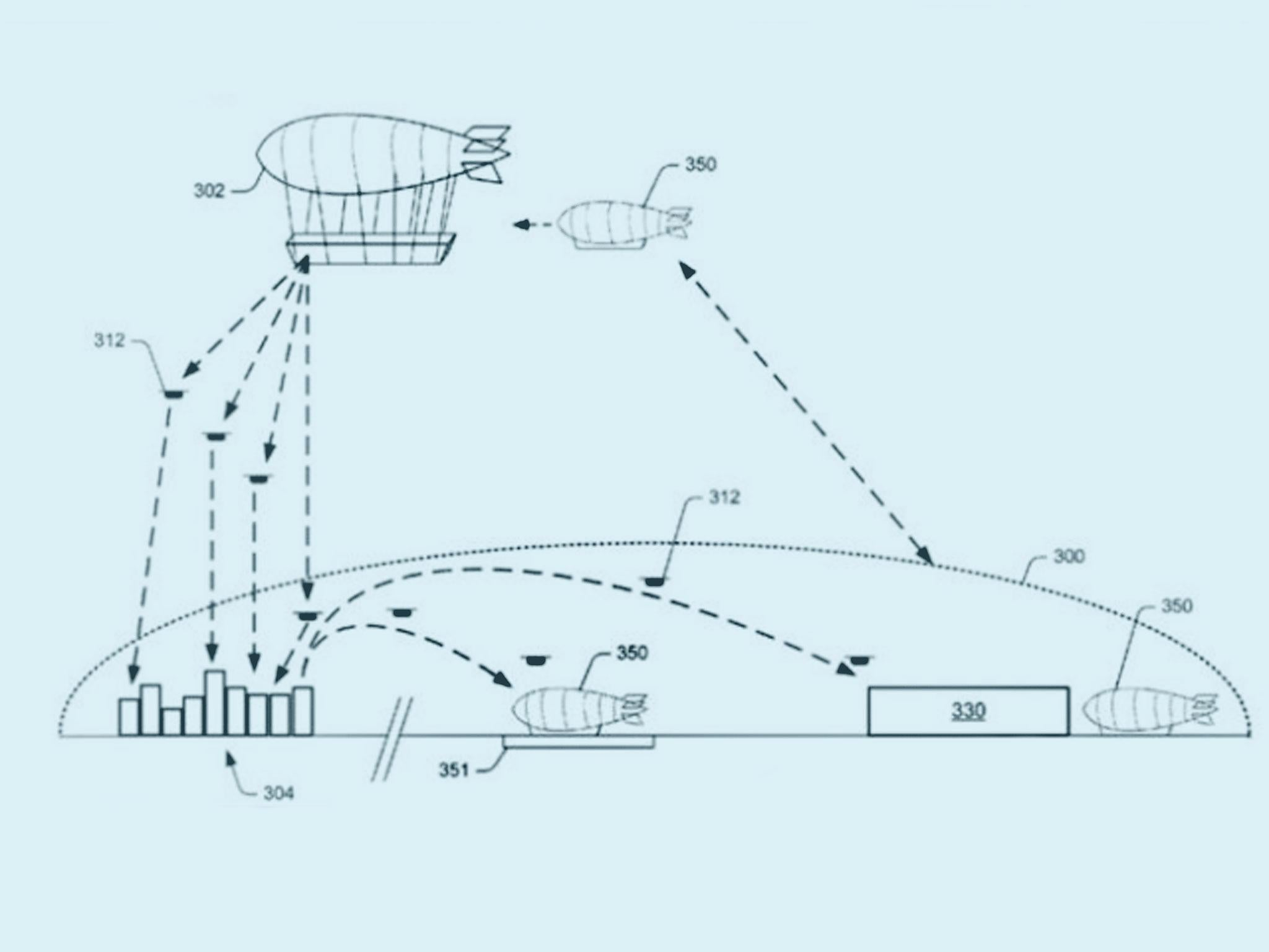 Amazon files patent for flying warehouse equipped with drones