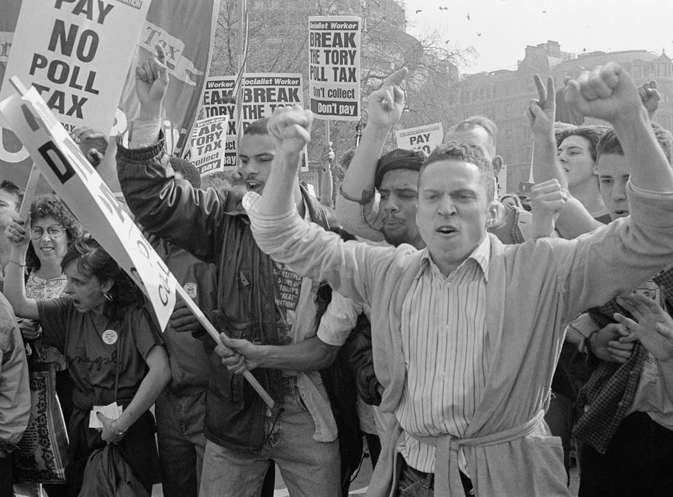 Protestors at a demonstration against the poll tax on 31 March 1990 in London