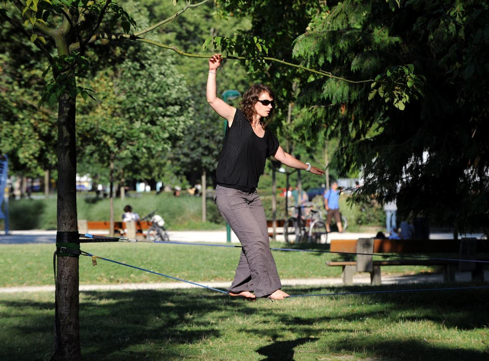 New balance: slacklining, which engages all the muscles, is set to be big (Getty)