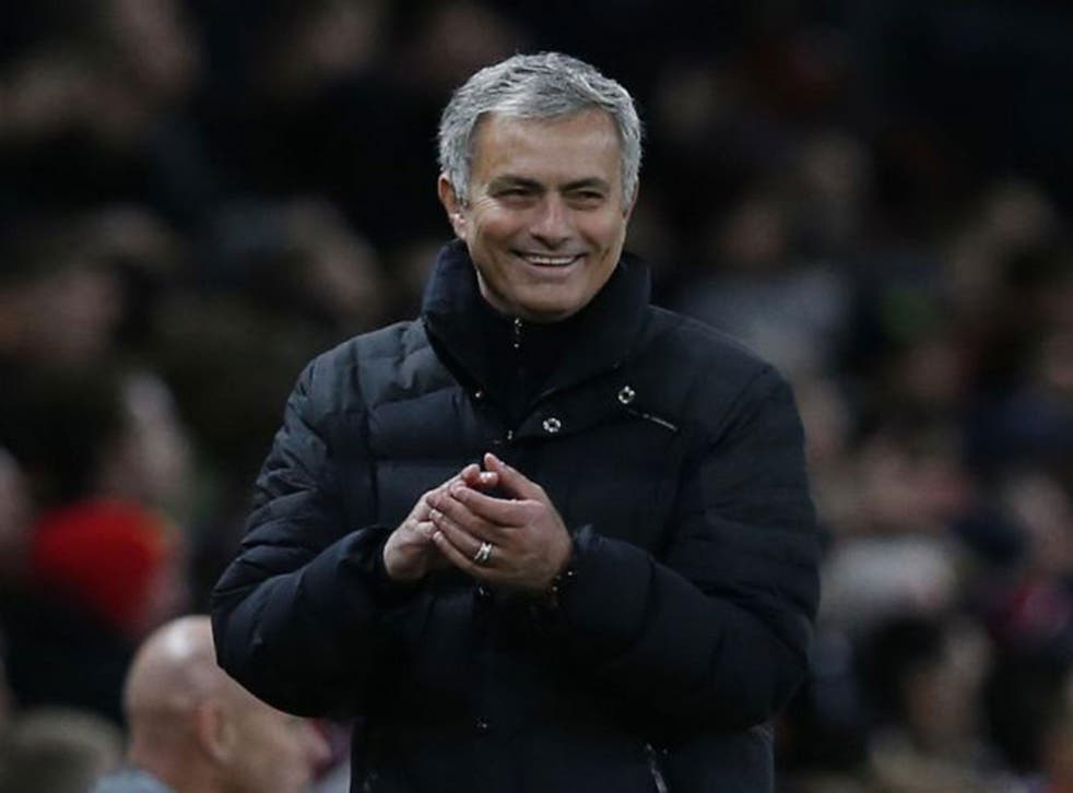 Jose Mourinho reacts during Manchester United's Premier League clash with Middlesbrough