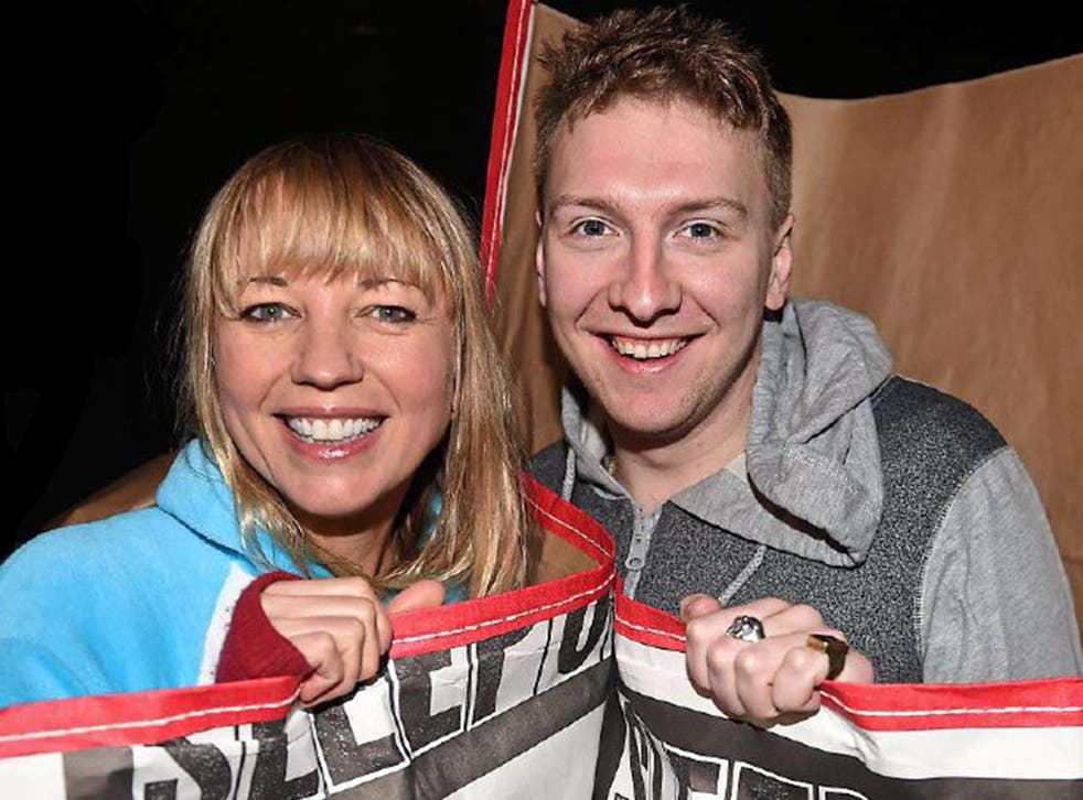 Sara Cox and Joe Lycett at Centrepoint's End Youth Homelessness sleep out in London in November
