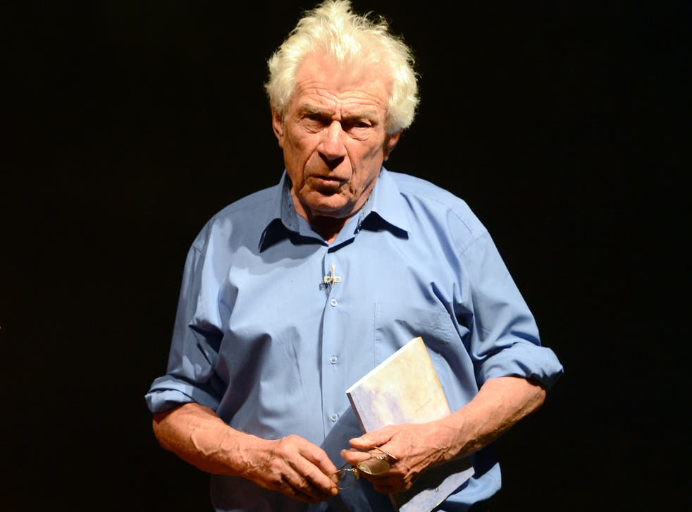 John Berger performs during a rehearsal in 2012 of the play 'Est-ce que tu dors?' written and directed by John and Katya Berger