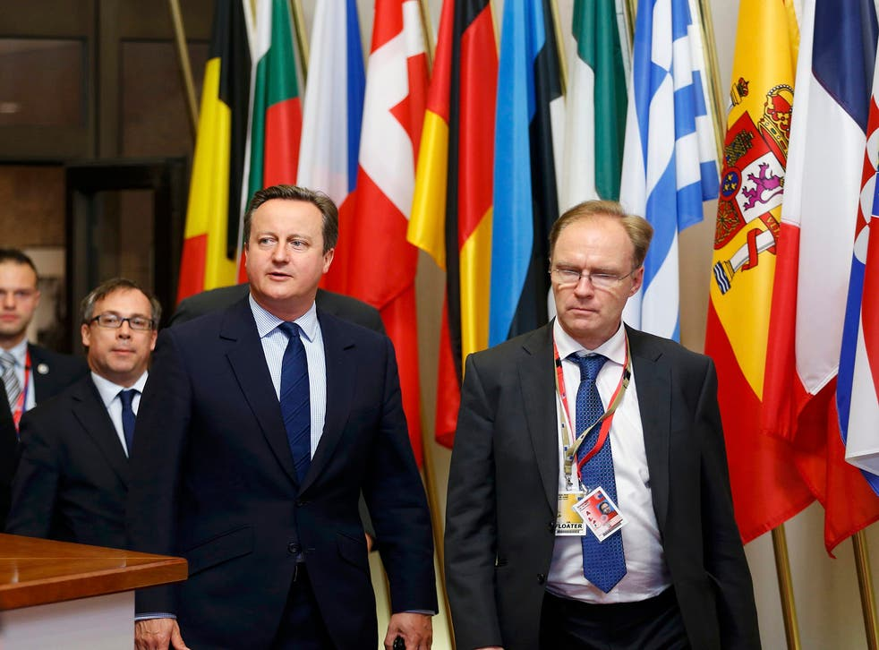 Sir Ivan (right) with former Prime Minister David Cameron at a summit in Brussels in 2016
