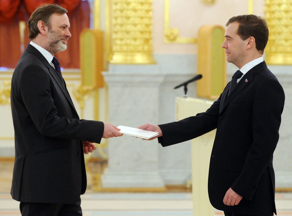 Sir Tim Barrow with former Russian President and now Prime Minister, Dmitry Medvedev