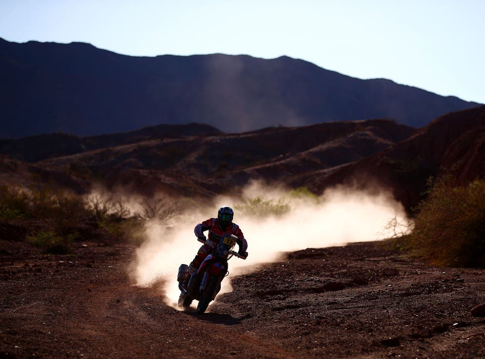 A rider competing on the third stage of the 2017 Dakar Rally between San Miguel de Tucuman and San Salvador de Jujuy