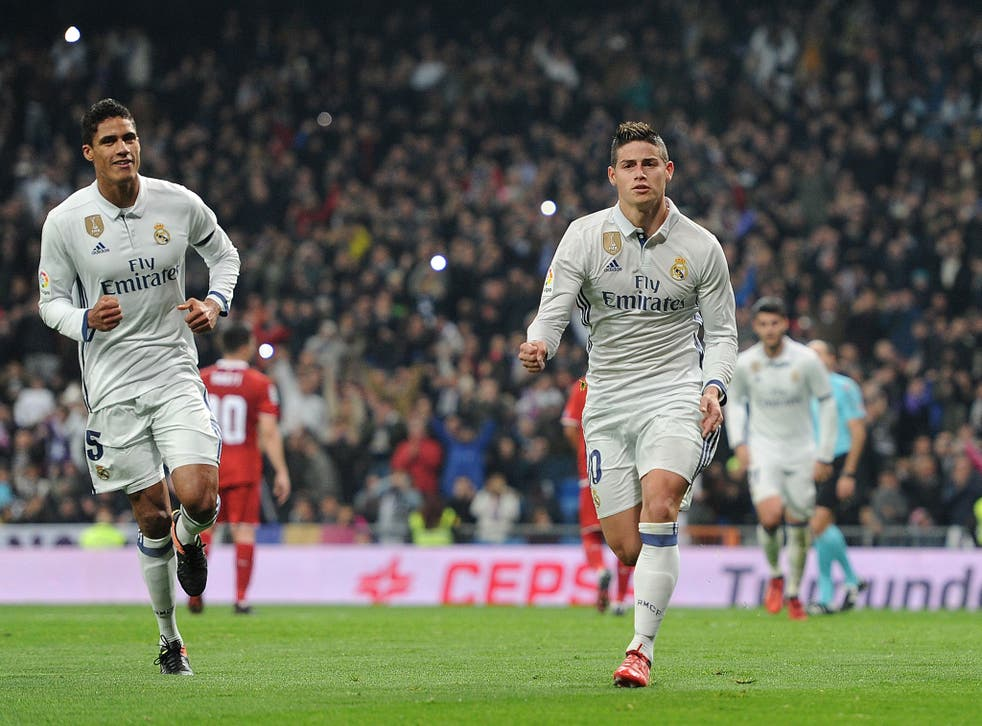 James Rodriguez celebrates his first goal for Real Madrid on Wednesday night