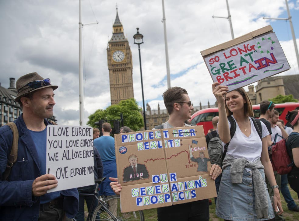People protest on Parliament Square after the EU referendum