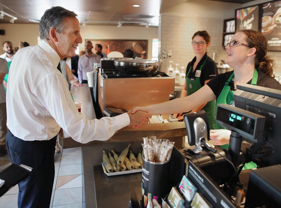 Starbucks' chief executive Howard Schultz, on Sunday, said that the coffee giant will hire 10,000 refugees over the next five years