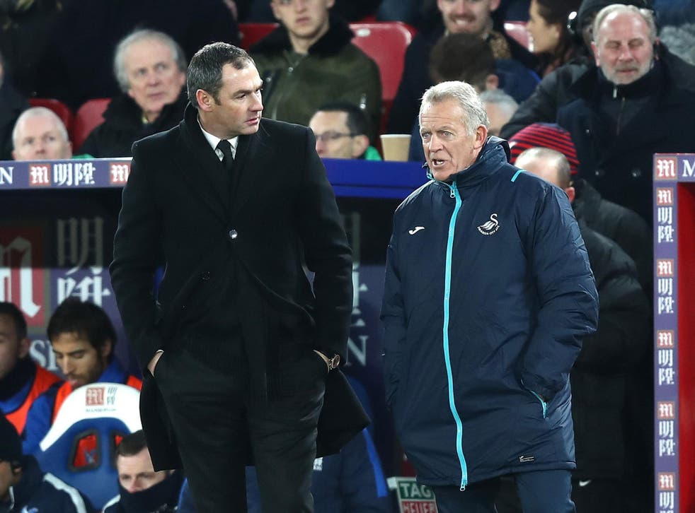 Alan Curtis (r) oversaw Swansea's 2-1 win over Crystal Palace on Tuesday