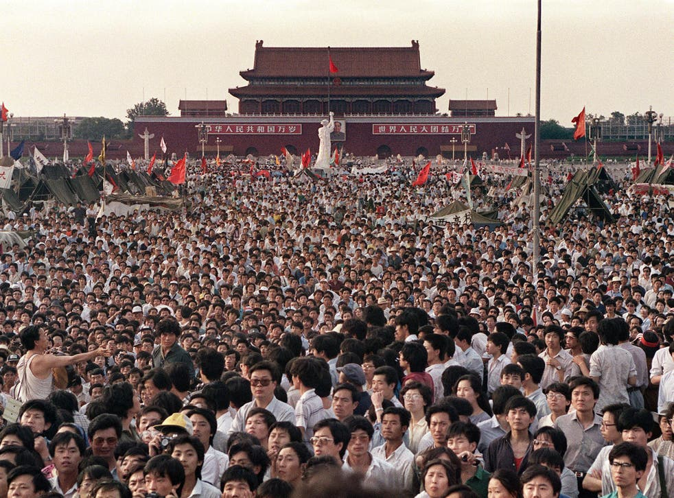 Hundreds of thousands of Chinese gathered in Tiananmen Square to demand democracy despite martial law in Beijing