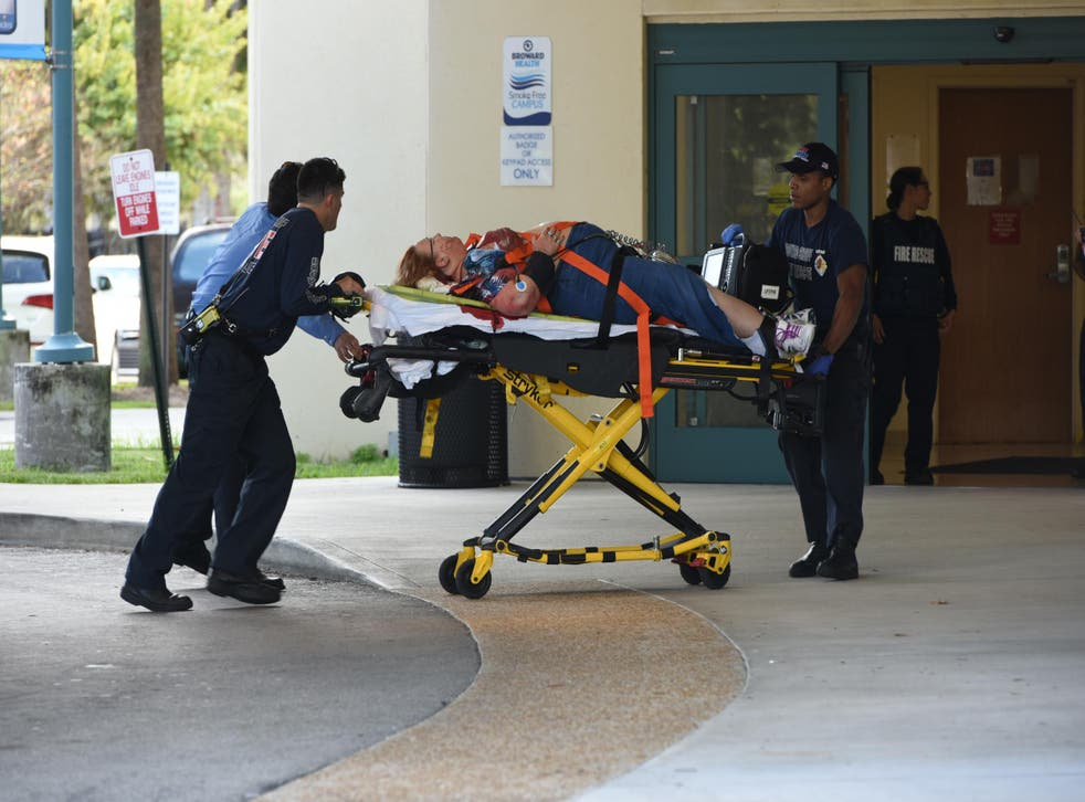 A shooting victim is taken into Broward Health Trauma Center in Fort Lauderdale