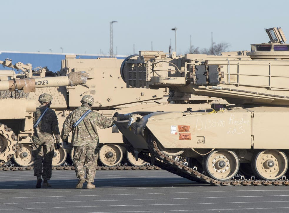US tanks arrive in Bremerhaven, Germany, bound for Poland as part of Operation Atlantic Resolve