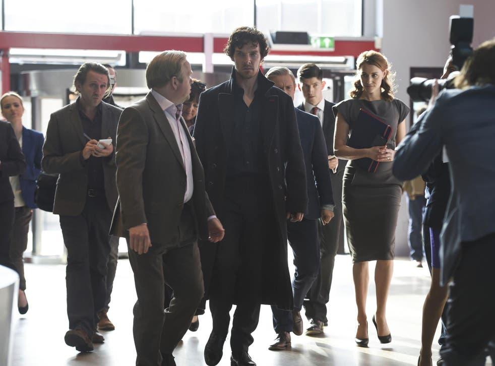 Toby Jones as Culverton Smith and Benedict Cumberbatch as Sherlock Holmes