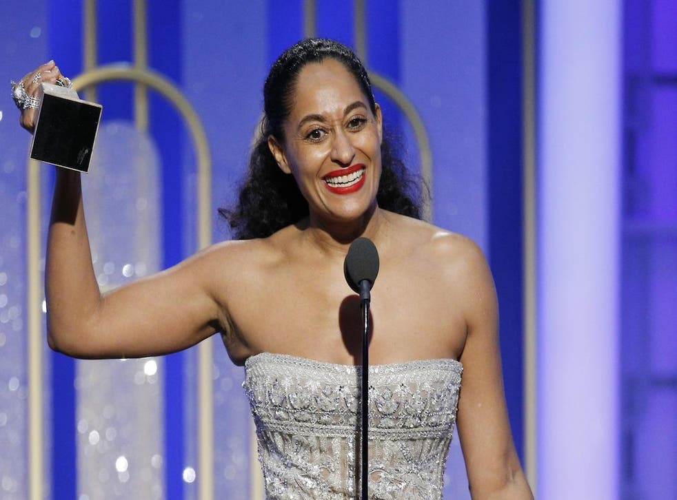 Tracee Ellis Ross accepts the award for Best Actress in a Television Series - Musical or Comedy for her role in 'Black-ish' during the 74th Annual Golden Globe Awards at The Beverly Hilton Hotel on January 8, 2017 in Beverly Hills, California.