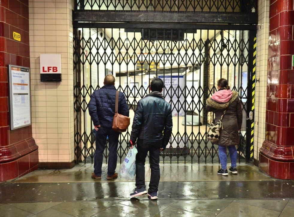 Commuters outside Elephant & Castle station in south London