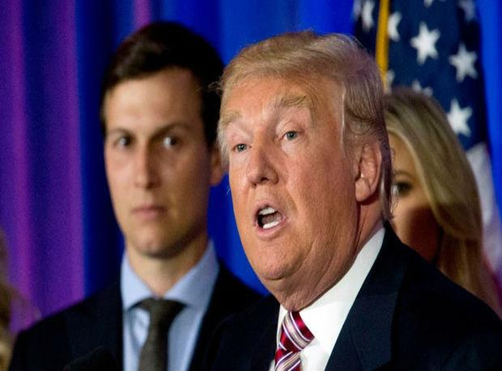 Donald Trump and his son-in-law Jared Kushner, who has been made a White House adviser by the President-elect