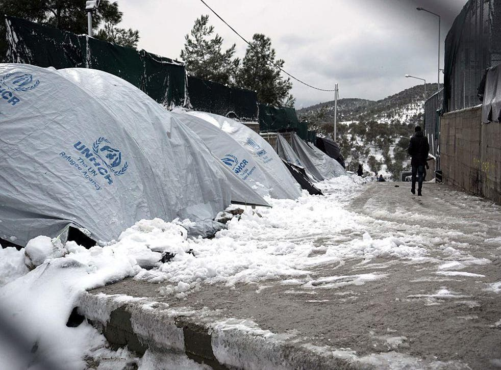 Snow-covered tents at the Moria refugee camp on the island of Lesbos last week