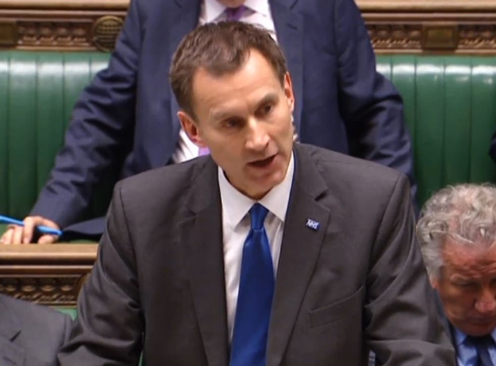 Jeremy Hunt delivering his statement in the House of Commons